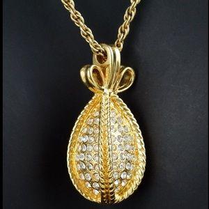 Vintage Joan Rivers Gold Paved Diamond Necklace